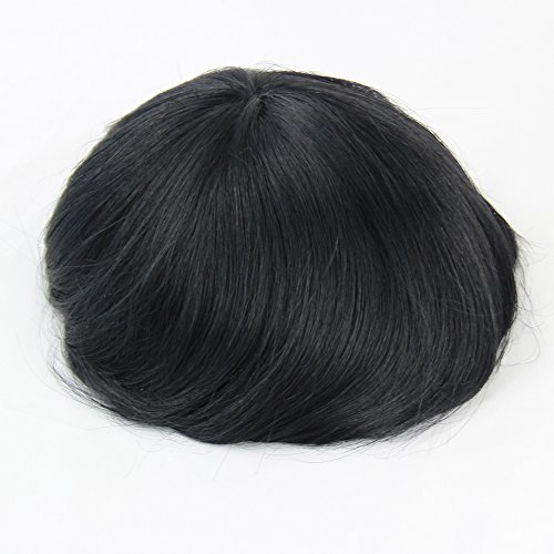 Fabwigs Mens Toupee Wig Human Hair-8x10 Inch Fine Mono Base PU Around Mens Hairpiece Hair Replacement Systerm(#1 Jet Black)