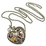 SODIAL Collar de Corazon Hueco con Colgante de Perlas de Colores Collar Largo de Bronce, Oro
