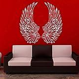 Diseño Alas de ángel Etiqueta de la pared Decoración para el hogar Salón Arte de la pared Vinilo Interior del dormitorio Decoración Mural desmontable 57X55 CM, blanco