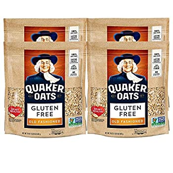 Quaker Gluten Free Old Fashioned Rolled Oats Non GMO Project Verified 24oz Resealable Bags  Pack of 4