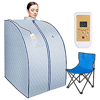 Fitnet Portable Sauna Home Spa One Person Full Body Sauna Tent, Remote Control with Foldable Chair