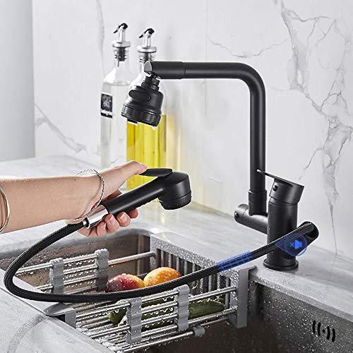 Grifo para cocina de 360°, doble salida, fregadero para el hogar, fregadero, lavabo, lavabo, giratorio, retráctil, negro frío y caliente (color negro)