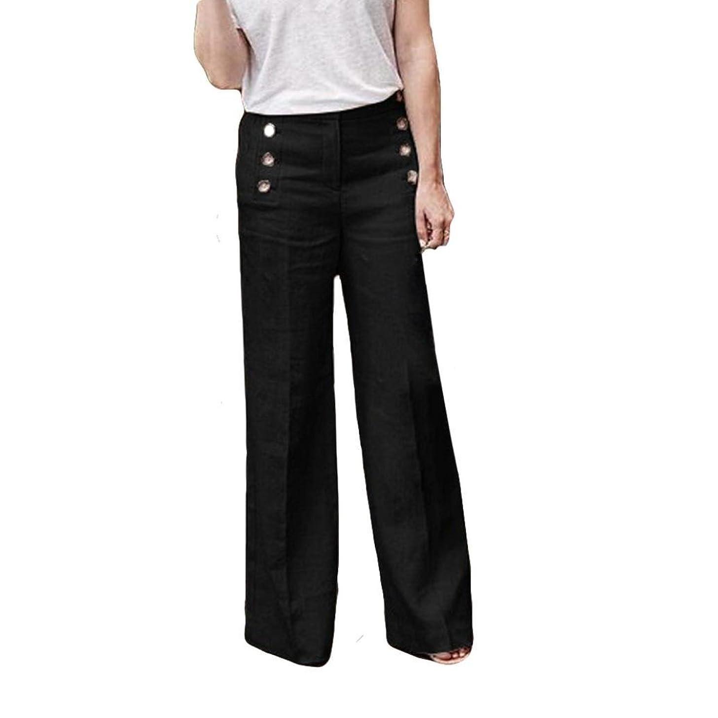 Pervobs Women Pants, Women Fashion Pants Casual Loose Elastic Button Zipper Fly High Waist Wide Leg Pants