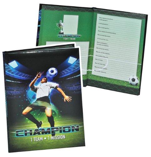 Meine Freunde Buch -  Fussball Champion  für Jungen - dick gebunden für Schulfreunde Poesie A5 Hardcover - Freundebuch Poesiealbum Kinder Schule