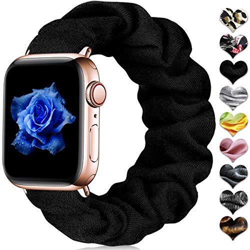 CeMiKa Scrunchie Elastische Horlogeband Compatibel met Apple Watch Bandje 38mm 40mm 42mm 44mm, Zacht Patroon Bedrukte Stoffen Polsband Compatibel met iWatch Series 5 4 3 2 1, 38mm/40mm Zwart