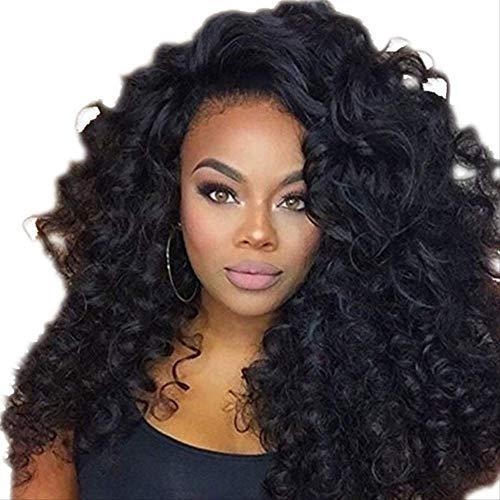 Mode Femme Perruque Africaine Petite Boucle Couverture Élégante Noir Fibre Chimique Explosion Tête Longue Bouclée Cheveux Tête Couverture