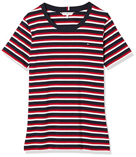 Tommy Hilfiger Damen Th Essential Round-nk Top Ss Hemd, Rot (Ombre STP Primary Red), S