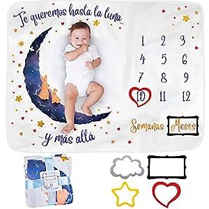 Manta Meses Bebé en Español   Modelo Unisex   Regalo De Fiesta De Nacimiento   Temática Luna   Suave y Gruesa   Manta para Fotos Mensuales   Control De Edad y Crecimiento   Manta Mensual De Hito