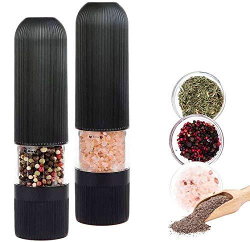 ROVE Salz und Pfeffer Mühle Elektrische Pfeffermühle Salzmühle Gewürzmühle Keramikmahlwerk mit Licht Einstellbare Feinheit 2er (Schwarz)