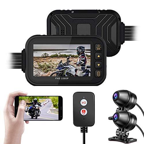 BaiTTang Cámara de Motocicleta Dash CAM - Versión WiFi, Pantalla IPS 3 '' y 1080p + 720p Dual len, IP67, Impermeable, Ciclo de Bicicletas DVR con g-Sensor, grabación de Bucle, visión Nocturna