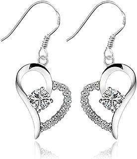 Sealike Heart-shaped Rhinestone Crystal Earrings 925 Sterling Silver Plated Stud Eardrop Hoop with Stylus