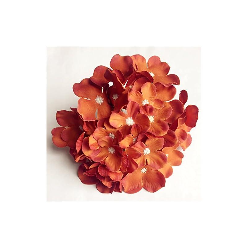 silk flower arrangements jiumengya 10pcs silk hydrangea flower heads 15cm diameter with 12cm long stem artificial flowers hydreageas for diy bridal bouquet wedding centerpieces decorative flower (autumn orange)