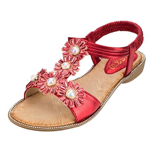 WWricotta SummerWomen Ladies Bohemia Sunflower Crystal Flat Sandals Beach Peep ToeShoes(rot,42)