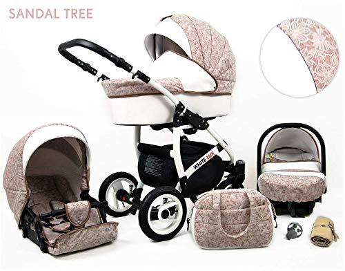 Kinderwagen White Lux,3 in 1 -Set Wanne Buggy Babyschale Autositz mit Zubehör Sandal Tree