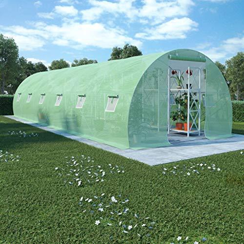 Festnight Gewächshaus mit Stahlfundament Gartenhaus Tomatenhaus Treibhaus Tomatenzelt Gartenhäuschen Frühbett mit 12 Seitenfenstern und 1 Tür 900 x 300 x 200 cm
