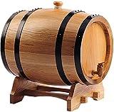 JLDN 3L Barril de Vino, Barril de Madera de Roble Envejecimiento Barril con Grifo con Filtro Kit elaboración del Vino for su Almacenamiento o envejecimiento del Vino,Natural Color