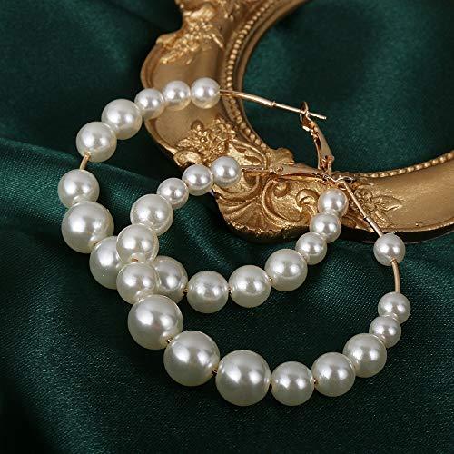 weichuang Pendientes de perlas blancas negras de gran tamaño para las mujeres bohemias redondos pendientes europeos de joyería de moda accesorios de encanto (color de metal: EOSQ0027)
