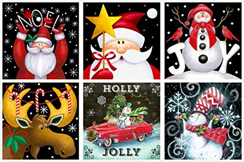6-Pack 5d Christmas Diamond Painting Art Dotz Kits Paint by Numbers Full Drill for Adult Kids Christmas Xmas Gifts Santa Claus Snowman Reindeer Deer Supplies, 12X12inch (B-6 Sets)