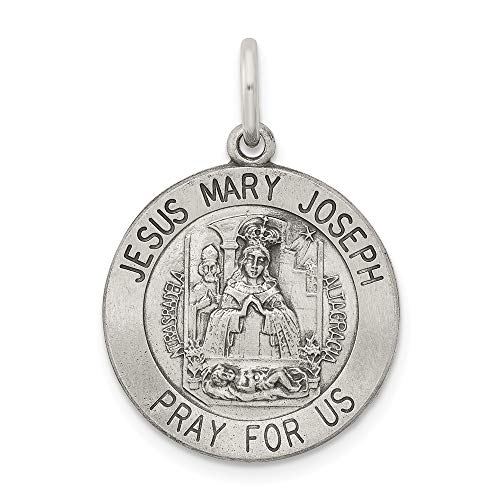 Saris and Things 925 Sterling Silber Antiqued heilige Familie Medaille