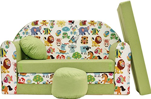 Pro Cosmo Z5Kinder Sofa Bett mit Puff/Fußbank/Kissen, Stoff, Grün, 168x 98x 60cm