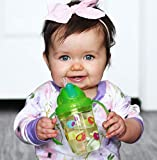 Nuby 2-Handle Printed No-Spill Tritan Thin Straw Flip n Sip Cup with 360 Weighted, Lime Green Birds, 8 Ounce