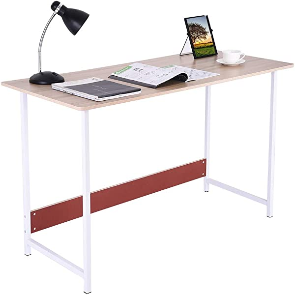 Computer Desk Fulijie Modern Writing Desk Simple Office Desk Home Writing Desk Coffee Table Wood Desktop And Metal Fram Study Table 47 2 21 7 28 7 Inch Ship From US Khaki