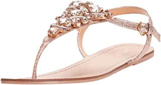 Jeweled Metallic Ankle-Strap Thong Sandals Style Rio