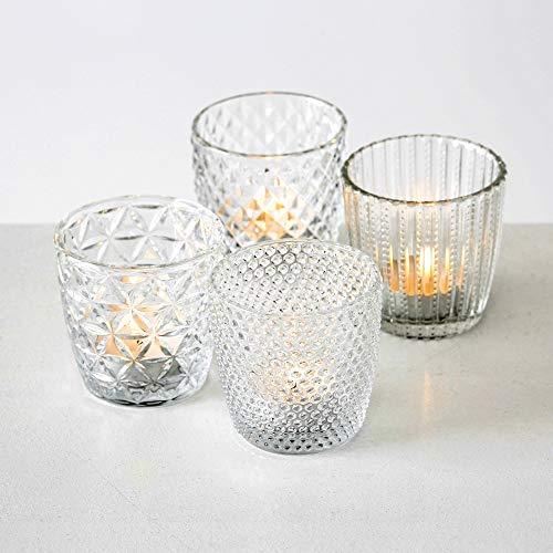 Boltze Teelichthalter 4er Set Teelichtgläser Deko Windlicht Marilu Klar 4X Glas