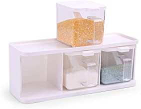 SPNEC White Seasoning Box, 3 Grid Seasoning Jar Kitchen Household Seasoning Bottle Seasoning Box Storage Box