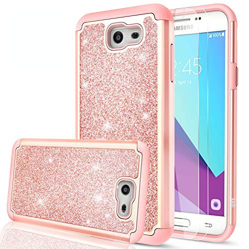 LeYi Compatible with Galaxy J7 Prime Case,(Not fit J7 2018) J7 Sky Pro/J7 VGlitter Case with Glass Screen Protector [2 Pack],Bling Hybrid Heavy Duty Phone Case for Samsung J7 2017 TP Rose Gold