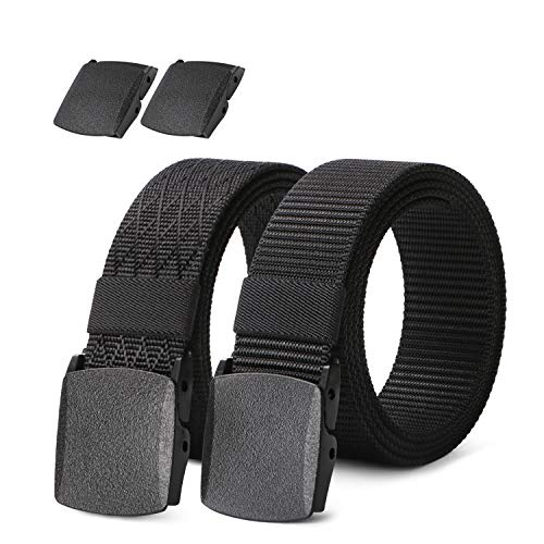 2 pack Mens Nylon Belt with Plastic Buckle TSA Belt, Adjustable Black Military Style Belt for Hiking