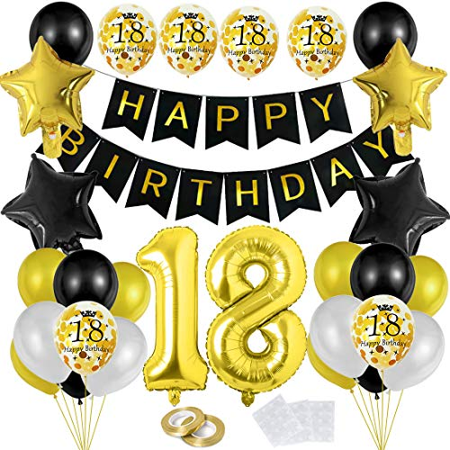 Bluelves 18 Globos Cumpleaños Decoracione Oro Negro, Happy Birthday cumpleaños,Decoración Globos de Látex Dorado Papel de Oro Apto para Hombres y Mujeres Adultos Decoración de Fiesta