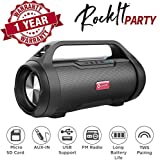 True Wireless Speaker, Woozik Rockit Party Bluetooth 5.0 Speaker, with FM Radio, SD Card Input, Aux, True Wireless Outdoor Boombox TWS Water Resistant Indoor