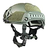 Phalanx Entry Level Olive Drab Tactical Bump Helmet w/Rails, NVG/Camera Mount and Loop for Patches, Strobes etc.