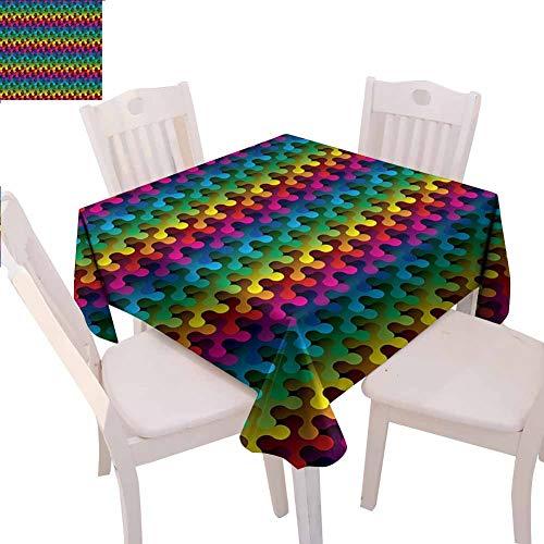 Mantel cuadrado geométrico multifuncional Trippy Digital Gradient Puzzle Estilo Futurista Curva Formas Multimedia Concepto Actividades de catering, 63.3 x 63.3 pulgadas Multicolor