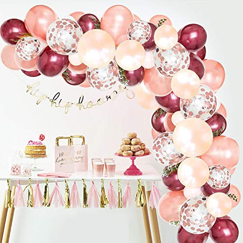 Balloon Garland Kit, 100pcs Balloon Garland Including Burgundy,Rose Gold,Peach Pearl & Rose Gold Confetti Assorted Balloons Decorations Backdrop Ideal for Birthday Baby Shower Party