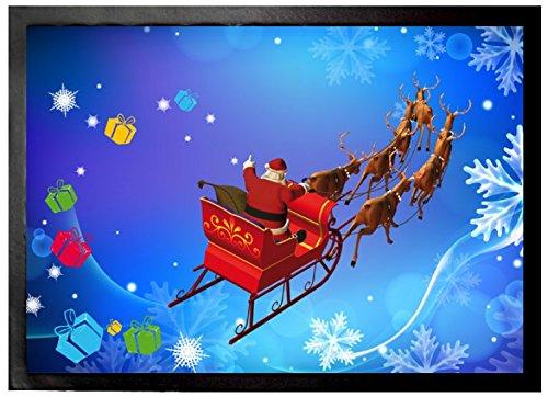 1art1 Weihnachten - Der Weihnachtsmann Kommt Mit Seinem Rentier-Schlitten   Fußmatte Innenbereich und Außenbereich   Design Türmatte 70 x 50 cm