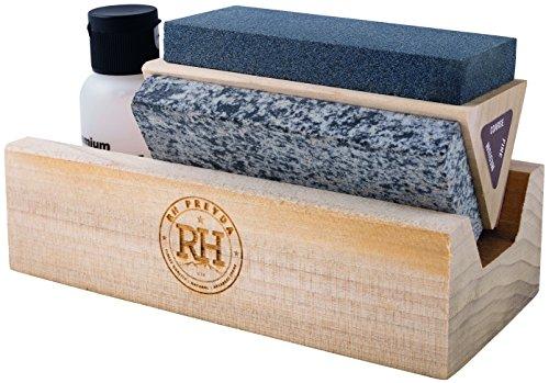 RH PREYDA Erwachsene Tri-Hone Kit, Aluminium Oxyd, Soft, Hard Arkansas, Körnung grob, mittel, fein, Holzständer, Öl Schärfprodukte, Mehrfarbig, One Size