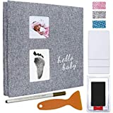 Vienrose Baby Photo Album 4x6 Self Adhesive Memory Book Magnetic Scrapbook Kit with Clean-Touch Ink Pad Handprint Footprint and a Metallic Pen for boy or girl baby 2 Windows 40 Pages, 11x10.6 Inches