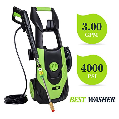 PowRyte Power Washer 4000PSI 3.0GPM,Electric Pressure Washer with 5pcs 1/4'' Universal Spray Nozzles, Power Wash, Suitable for Washing Cars,SUV's,Boats, RVs, Home Driveways,Cement etc(Green)