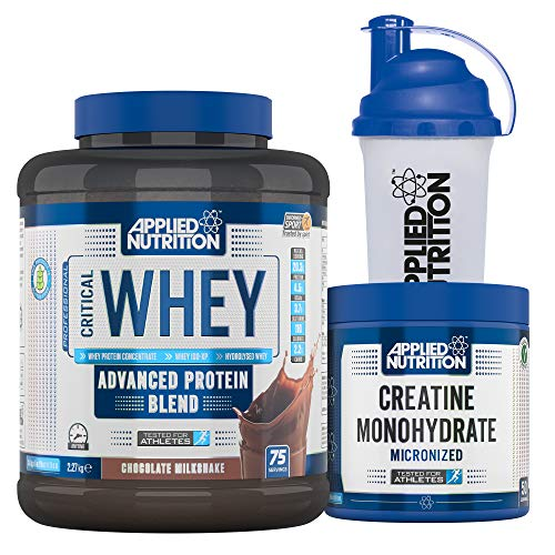 Applied Nutrition Bundle Critical Whey Protein Powder 2.27kg + Creatine Monohydrate 250g + 700ml Shaker | Gold Standard Muscle Building with Glutamine, Amino Acids, BCAA (Chocolate Milkshake)