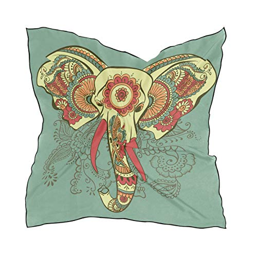 LUPINZ Leichter Halstuch Henna Elefant auf dem indischen Muster Mode Seide Design Frauen Hijab Wrap Schal