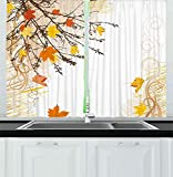 YUANCHENG Cortinas Naturales Hojas de Arce otoñal Ramas en otoño Tonos de Tierra Bosque desvaído Lámina Cortinas de Ventana para Sala de Estar