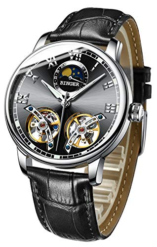 B BINGER Men's Automatic Mechanical Watch Dual Balance Wheels with Leather Band (Black)