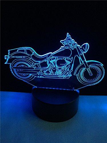 Retro motorfiets 3D illusie lamp LED nachtlampje met 7 kleuren wijzigen en afstandsbediening verjaardag en kerstcadeau voor kinderen slaapkamer decoratieve tafellamp