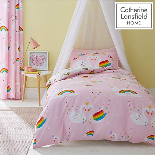 Catherine Lansfield Rainbow Swan Easy Care Double Duvet Set Pink