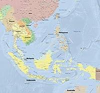 世界地図 [東南アジア] ポスター 大型 英語版 ラミネート加工 インテリア おしゃれ かっこいい