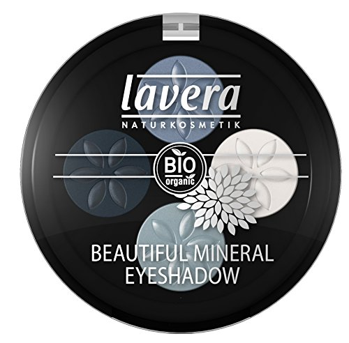 lavera Lidschatten Beautiful Mineral Eyeshadow Quattro ∙ Farbe Blue Platinum blau ∙ farbbrilliant & langanhaltend ∙ Natural & innovative Make up ✔ vegan ✔ Bio Pflanzenwirkstoffe ✔ Naturkosmetik ✔ Augen Kosmetik 1er Pack (1 x 3 g)