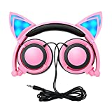 Auriculares para Niños con Cables, Plegables Headphone Oído del Gato con Luz LED, 3.5 Jack para PC, Tabletas, iPhone, Teléfono Inteligente L107 (Rosado)