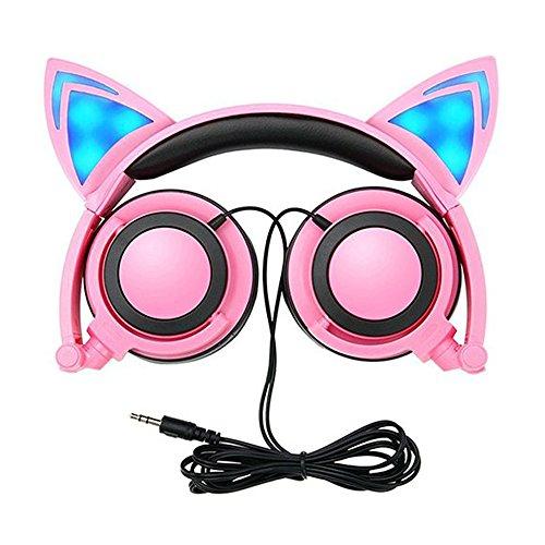 Auriculares para Niños con Cables, Plegables Headphone Oído del Gato con Luz...